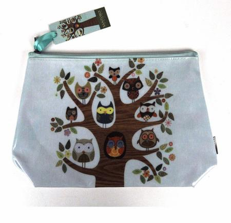 Owl Tree Feathered Friends Make Up Bag / Wash Bag / Pencil Case
