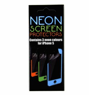 3 X Neon Screen Protectors For Iphone 5 Thumbnail 1