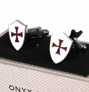 Cufflinks - Crusader Knights Templar Shield St. George's Cross Thumbnail 3