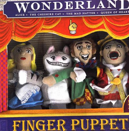 Wonderland Finger Puppet Play Set - Alice, Queen Of Hearts, Cheshire Cat & Mad Hatter Fridge Magnets