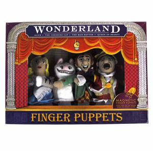 Wonderland Finger Puppet Play Set - Alice, Queen Of Hearts, Cheshire Cat & Mad Hatter Fridge Magnets Thumbnail 3