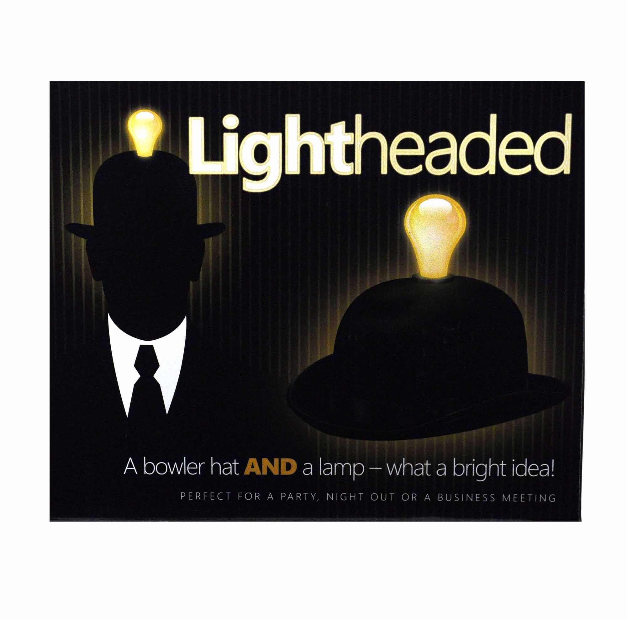 Bowler Hat with built in Light Bulb Lamp Lightheaded