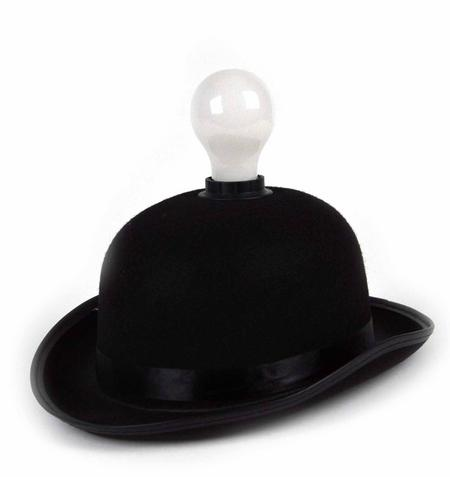 Lightheaded - Bowler Hat With Built In Light Bulb Lamp