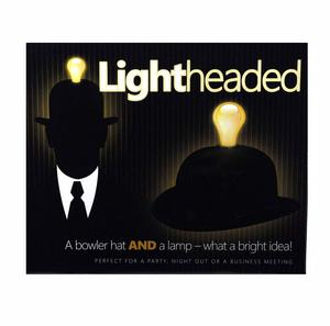 Lightheaded - Bowler Hat With Built In Light Bulb Lamp Thumbnail 3