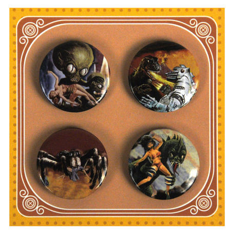 B Movie Monsters Button Badges