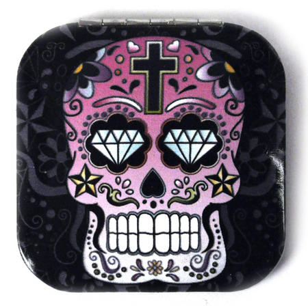 Pink Sugar Skull On Black - Square Compact Handbag Mirror