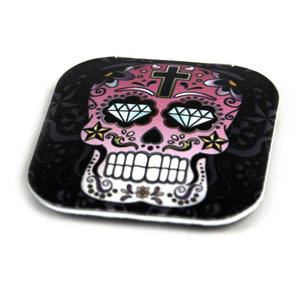 Pink Sugar Skull On Black - Square Compact Handbag Mirror Thumbnail 2