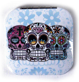 3 Sugar Skulls On White - Square Compact Handbag Mirror Thumbnail 1