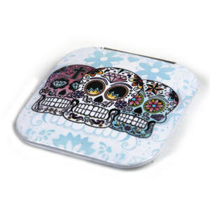 3 Sugar Skulls On White - Square Compact Handbag Mirror Thumbnail 2