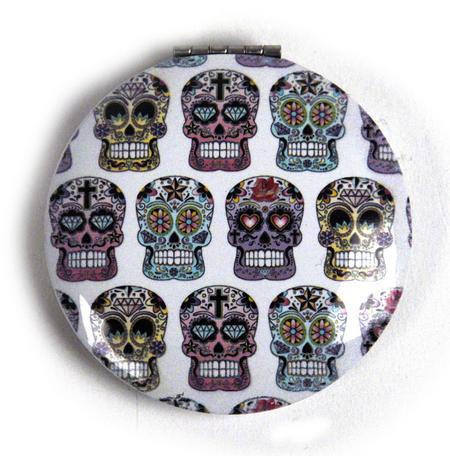 Sugar Skulls On White - Circular Compact Handbag Mirror