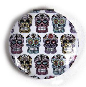 Sugar Skulls On White - Circular Compact Handbag Mirror Thumbnail 1