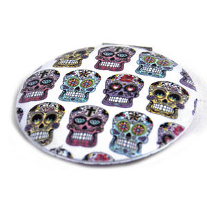 Sugar Skulls On White - Circular Compact Handbag Mirror Thumbnail 2