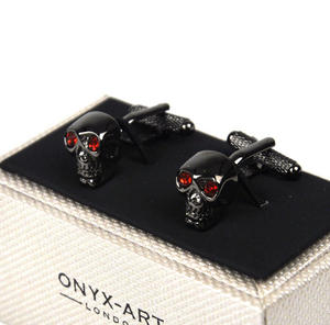 Cufflinks   Gun Metal Skull With Red Crystal Eyes Thumbnail 1