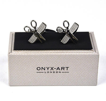 Cufflinks - Hairdresser Scissors And Comb