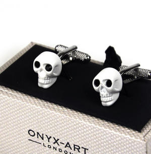 Cufflinks - White Skull With Black Crystal Eyes Thumbnail 1