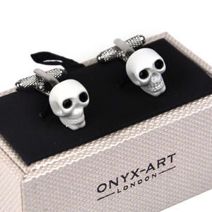 Cufflinks - White Skull With Black Crystal Eyes Thumbnail 2