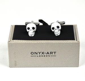 Cufflinks - White Skull With Black Crystal Eyes Thumbnail 3