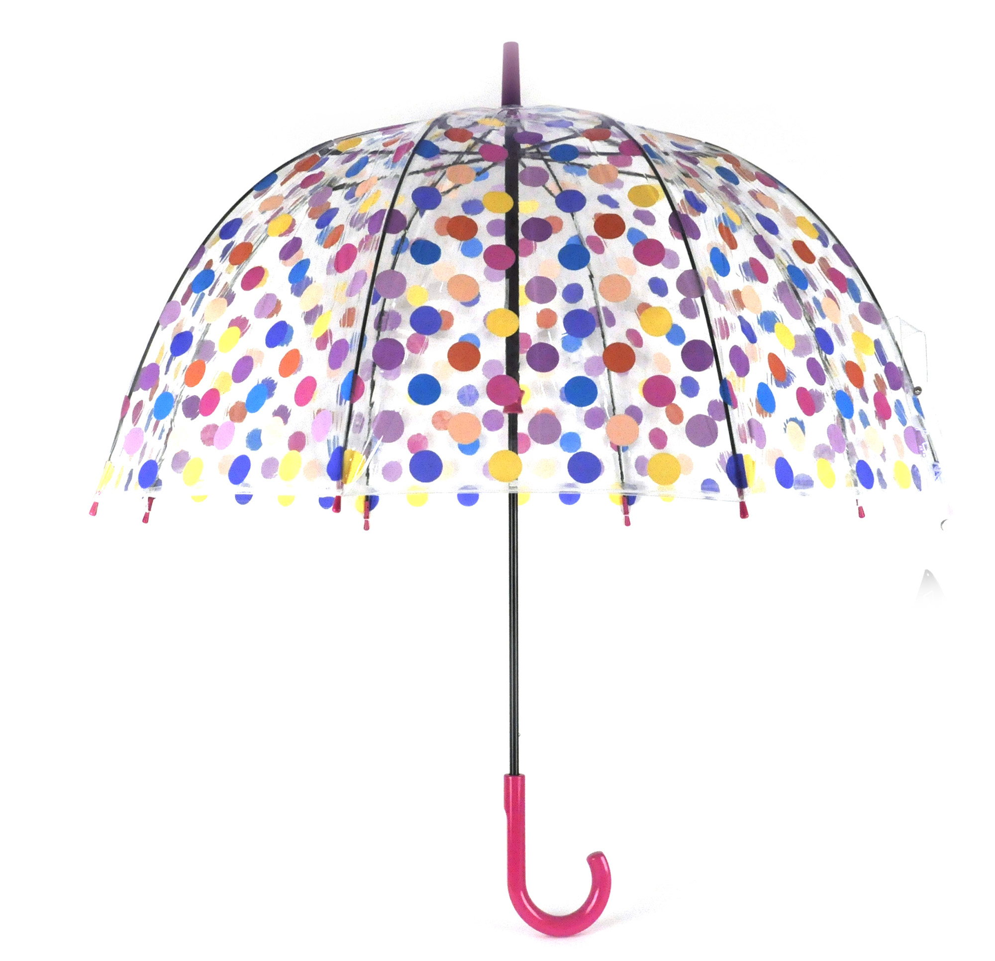 Spotty Birdcage Full Dome Umbrella Transparent Pink