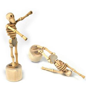 Lazy Bones - Wooden Collapsing Skeleton Man String Puppet Thumbnail 1