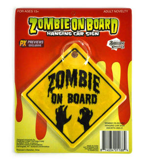 Zombie On Board - Hanging Car Sign Thumbnail 1