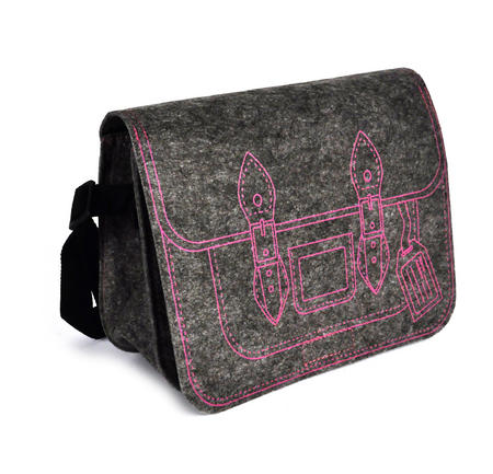 Felt Supermodel Satchel - Pink on Grey