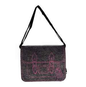 Felt Supermodel Satchel - Pink on Grey Thumbnail 3