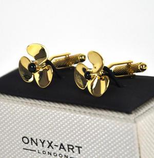Cufflinks - Gold Propellers Thumbnail 1