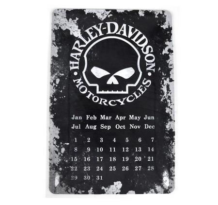 "Harley Davidson Motorcycles Calendar Metal Plaque - 20 x 30cm / 8"" x 12 """