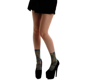 Camo Khaki Ankle Socks by Pamela Mann Thumbnail 2