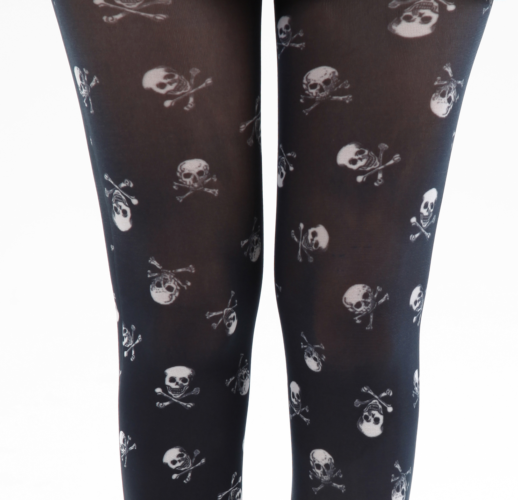 Pamela Mann Tights Skulls White on Black