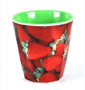 "Strawberries - Fluted Melamine Beaker - 9cm /4"" Thumbnail 2"