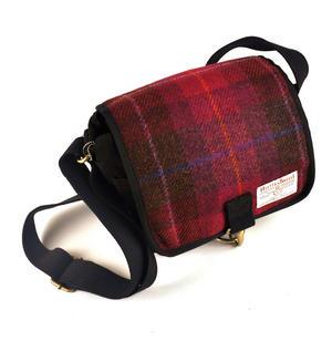 Harris Tweed Cerise Tartan Small Messenger Bag Thumbnail 1