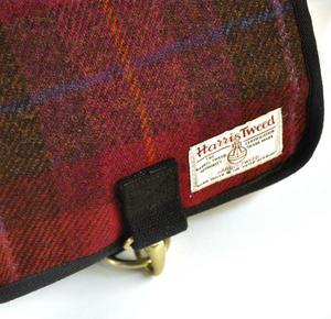 Harris Tweed Cerise Tartan Small Messenger Bag Thumbnail 2