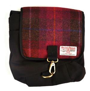 Harris Tweed Cerise Tartan Small Messenger Bag Thumbnail 3