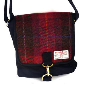 Harris Tweed Cerise Tartan Small Messenger Bag Thumbnail 6