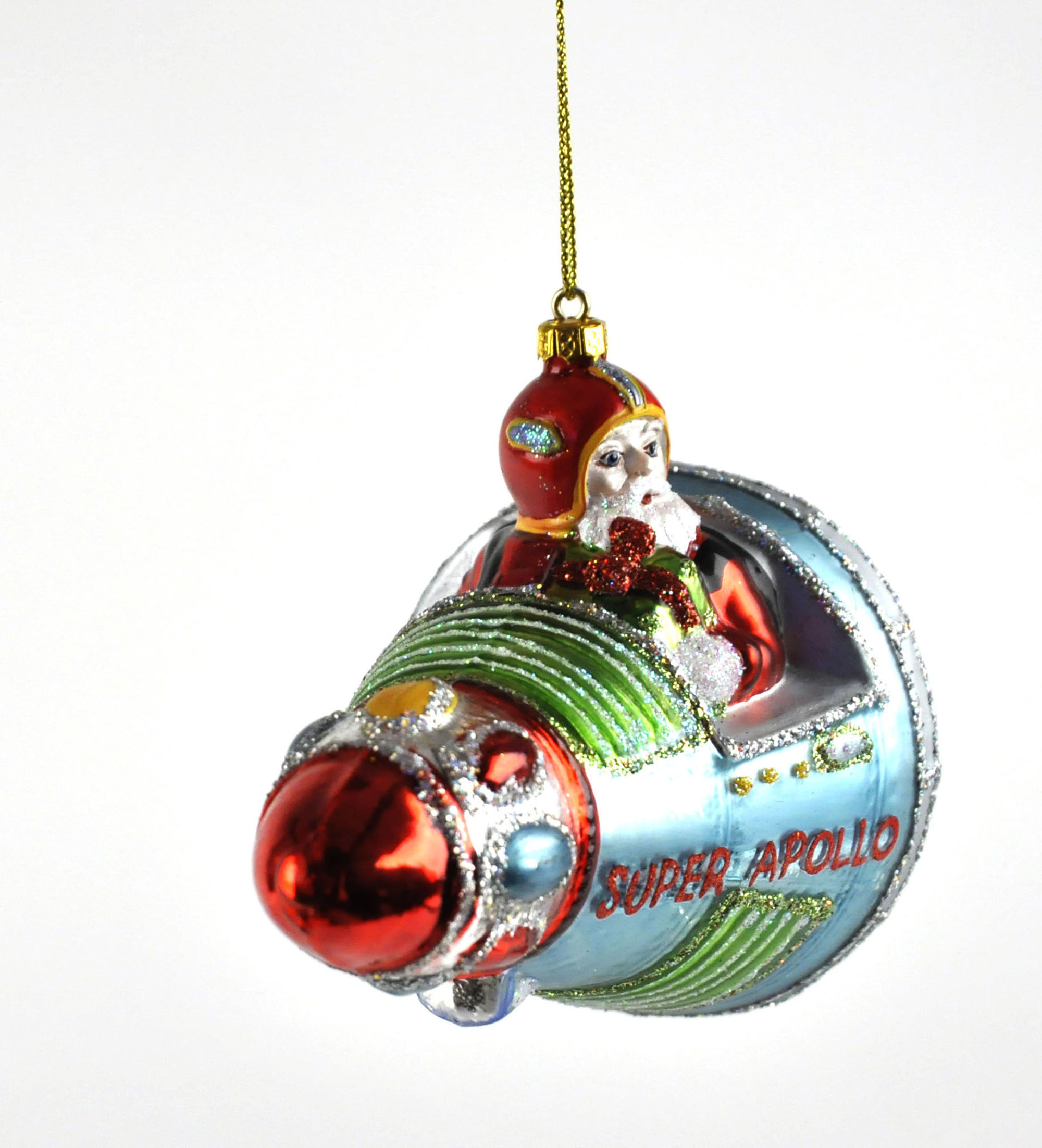 Santa 39 s apollo space shuttle christmas bauble painted for Weihnachtskugeln vintage