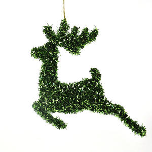 Green Tinsel Leaping  Reindeer Bauble - Hanging Decoration 16.5 cm /7""
