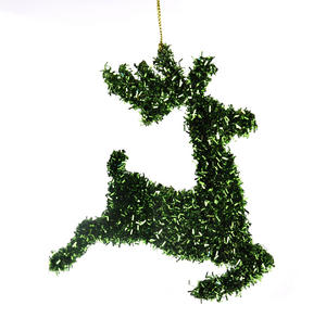 "Green Tinsel Leaping  Reindeer Bauble - Hanging Decoration 16.5 cm /7"" Thumbnail 2"