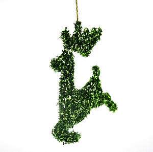 "Green Tinsel Leaping  Reindeer Bauble - Hanging Decoration 16.5 cm /7"" Thumbnail 3"