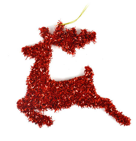 Red Tinsel Leaping  Reindeer Bauble - Hanging Decoration 16.5 cm /7""