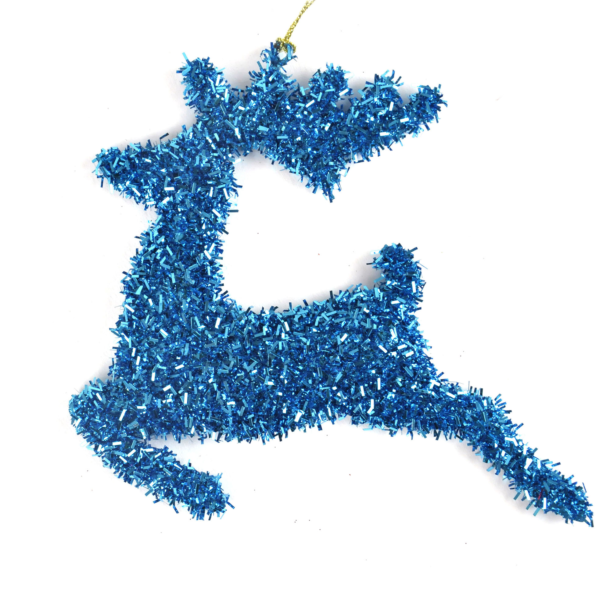 Blue tinsel leaping reindeer bauble hanging decoration
