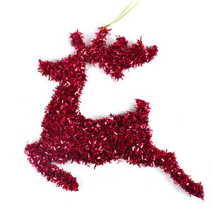 Pink Tinsel Leaping  Reindeer Bauble - Hanging Decoration 16.5 cm /7""