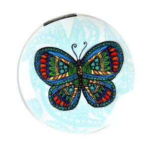 Green Butterfly - Circular Compact Handbag Mirror