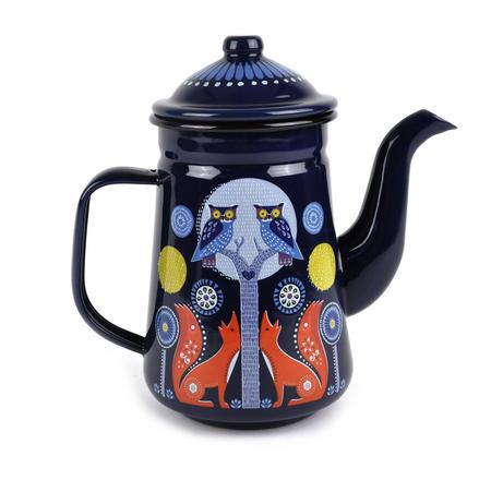Night Time Folklore Coffee Enamel Pot
