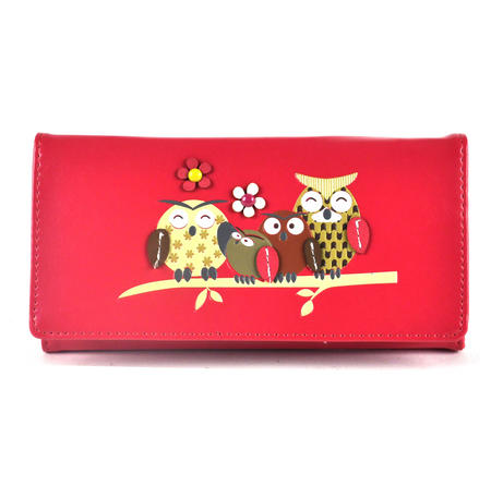 Owl Rest - Long Wallet - Fuschia