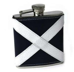 Scotland Flag Deluxe Leather Scottish Hip Flask Thumbnail 1