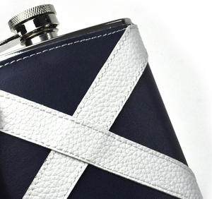 Scotland Flag Deluxe Leather Scottish Hip Flask Thumbnail 2