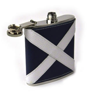 Scotland Flag Deluxe Leather Scottish Hip Flask Thumbnail 3