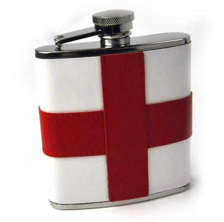 England Flag Deluxe Leather English St. George's Hip Flask