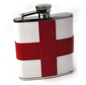 England Flag Deluxe Leather English St. George's Hip Flask Thumbnail 1